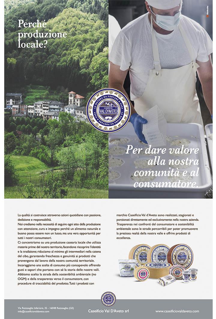 pagina pubblicitaria Caseificio Val d'Aveto Produzione locale