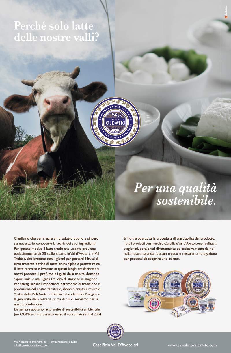 Pagina pubblicitaria Caseificio Val d'Aveto
